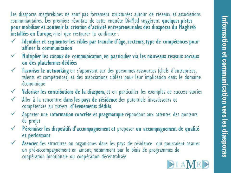 Information et communication vers les diasporas Les diasporas maghrébines ne sont pas fortement structurées autour de réseaux et associations communau