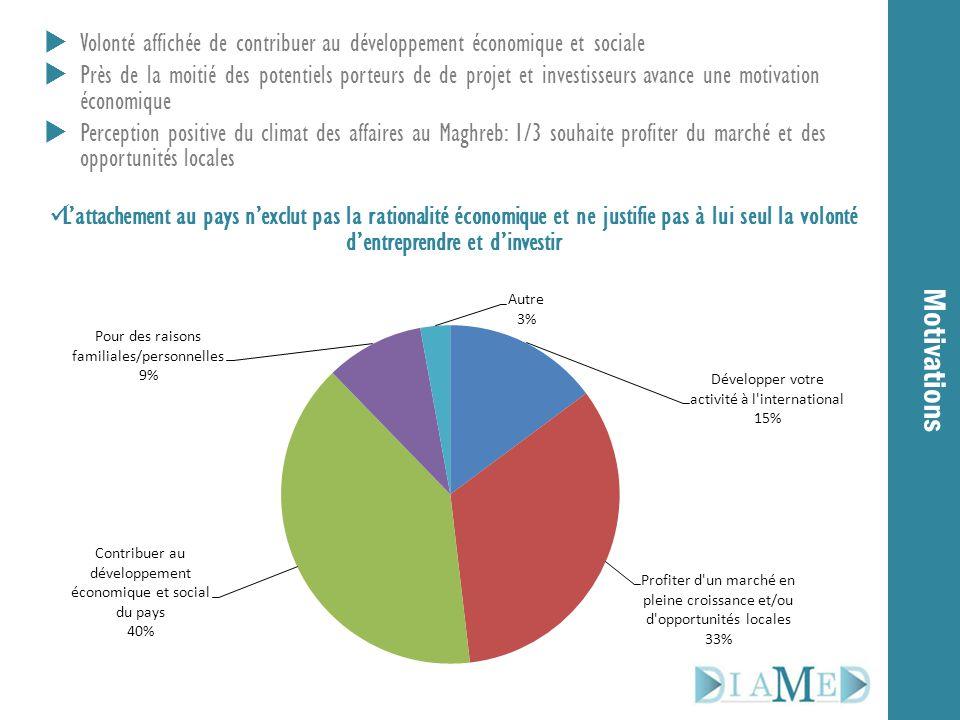 Motivations  Volonté affichée de contribuer au développement économique et sociale  Près de la moitié des potentiels porteurs de de projet et invest