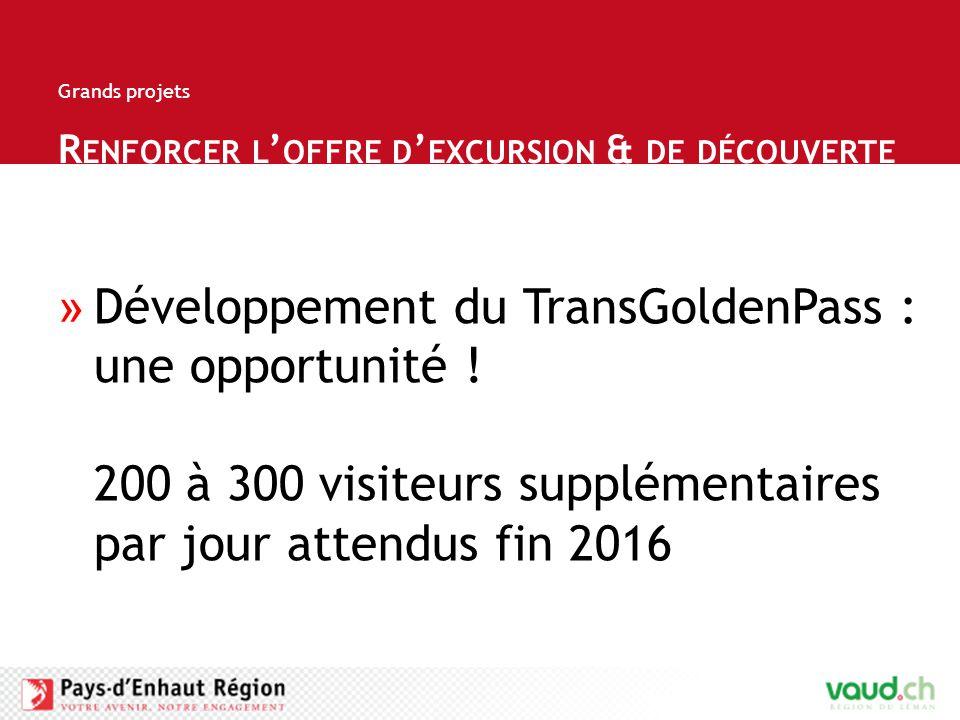 R ENFORCER L ' OFFRE D ' EXCURSION & DE DÉCOUVERTE Grands projets »Développement du TransGoldenPass : une opportunité .