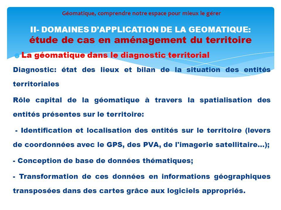 ☻La géomatique dans le diagnostic territorial Diagnostic: état des lieux et bilan de la situation des entités territoriales Rôle capital de la géomati