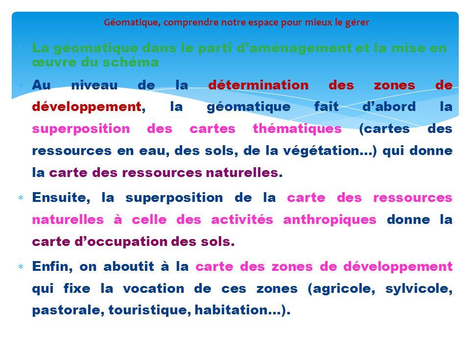  La géomatique dans le parti d'aménagement et la mise en œuvre du schéma  Au niveau de la détermination des zones de développement, la géomatique fa