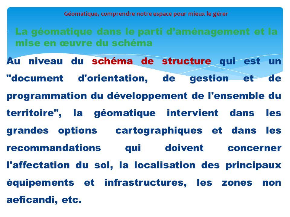  La géomatique dans le parti d'aménagement et la mise en œuvre du schéma Au niveau du schéma de structure qui est un