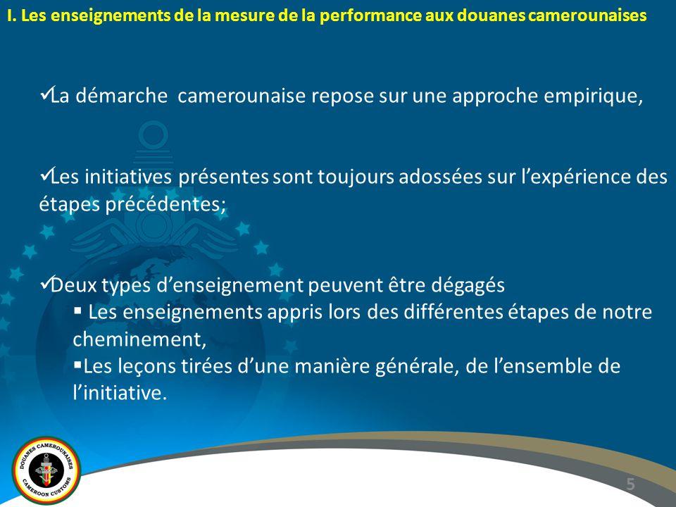 5 I. Les enseignements de la mesure de la performance aux douanes camerounaises La démarche camerounaise repose sur une approche empirique, Les initia