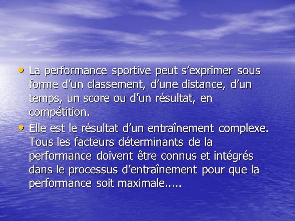 La performance sportive peut s'exprimer sous forme d'un classement, d'une distance, d'un temps, un score ou d'un résultat, en compétition. La performa