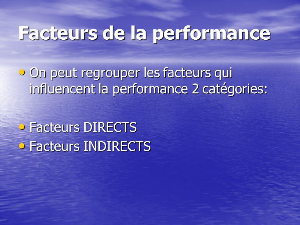 Facteurs de la performance On peut regrouper les facteurs qui influencent la performance 2 catégories: On peut regrouper les facteurs qui influencent