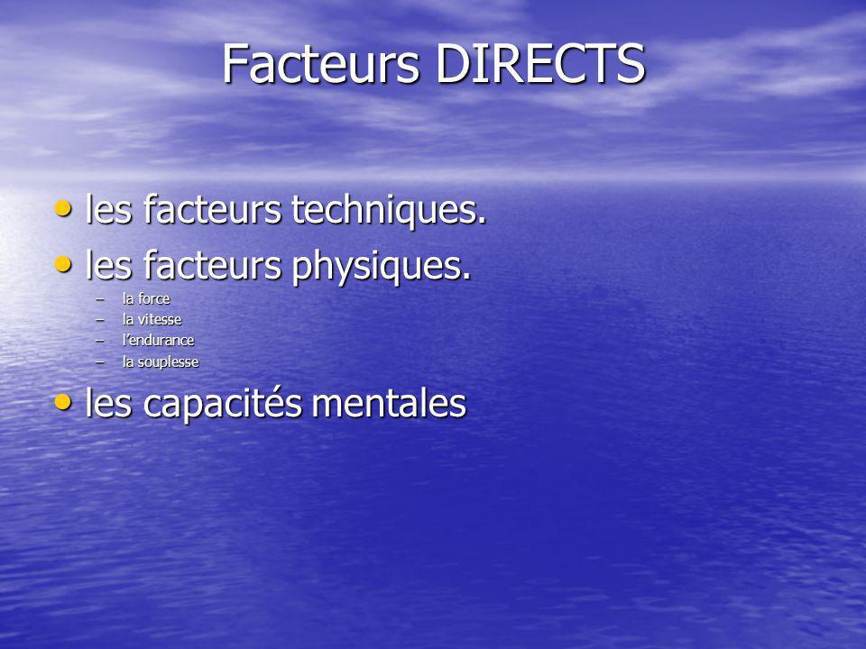 Facteurs DIRECTS les facteurs techniques. les facteurs techniques. les facteurs physiques. les facteurs physiques. –la force –la vitesse –l'endurance