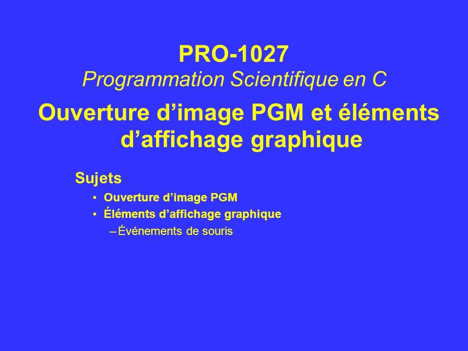 Ouverture d'image PGM et éléments d'affichage graphique Sujets Ouverture d'image PGM Éléments d'affichage graphique –Événements de souris PRO-1027 Pro