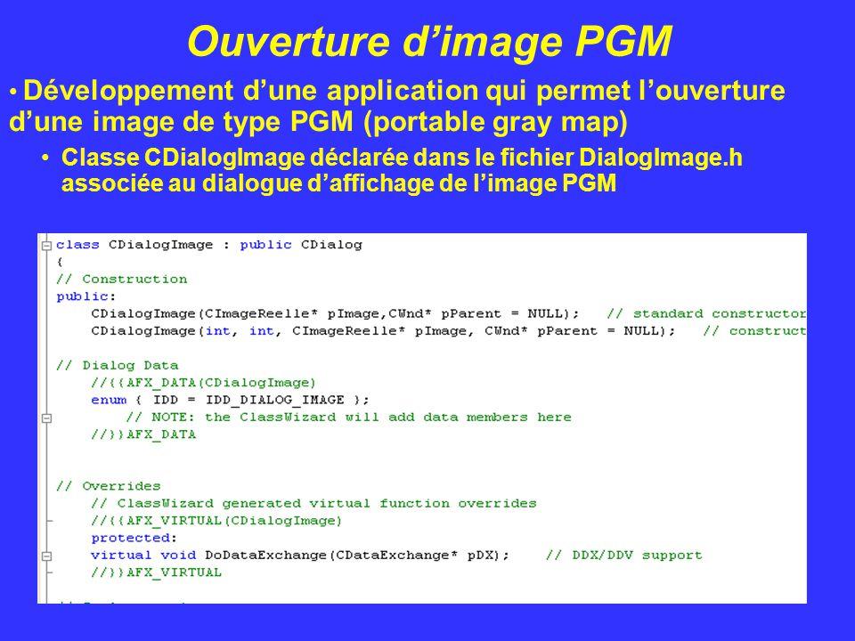 Ouverture d'image PGM Développement d'une application qui permet l'ouverture d'une image de type PGM (portable gray map) Classe CDialogImage déclarée