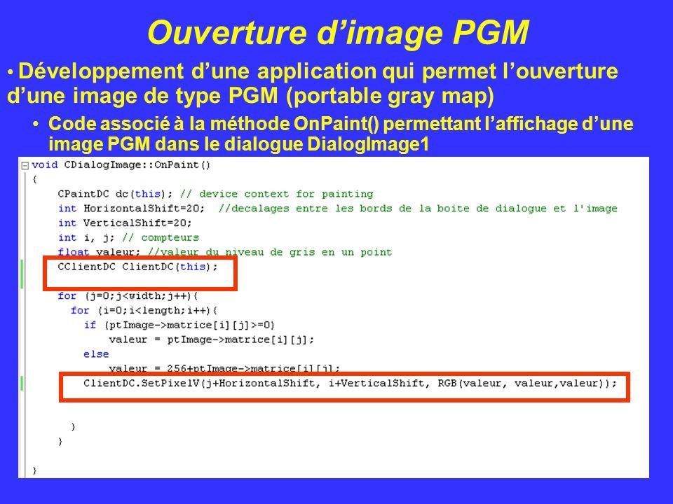Ouverture d'image PGM Développement d'une application qui permet l'ouverture d'une image de type PGM (portable gray map) Code associé à la méthode OnP
