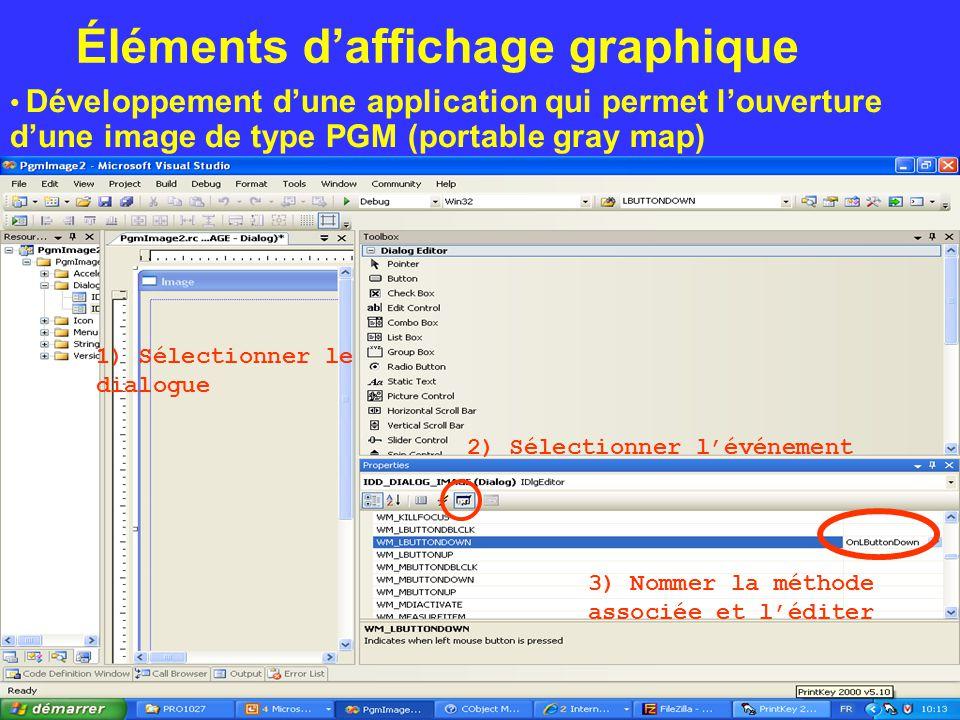 Éléments d'affichage graphique Développement d'une application qui permet l'ouverture d'une image de type PGM (portable gray map) 1) Sélectionner le d