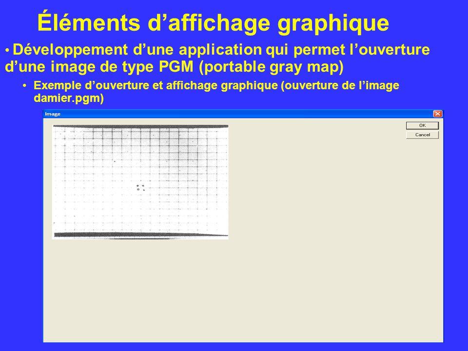 Éléments d'affichage graphique Développement d'une application qui permet l'ouverture d'une image de type PGM (portable gray map) Exemple d'ouverture