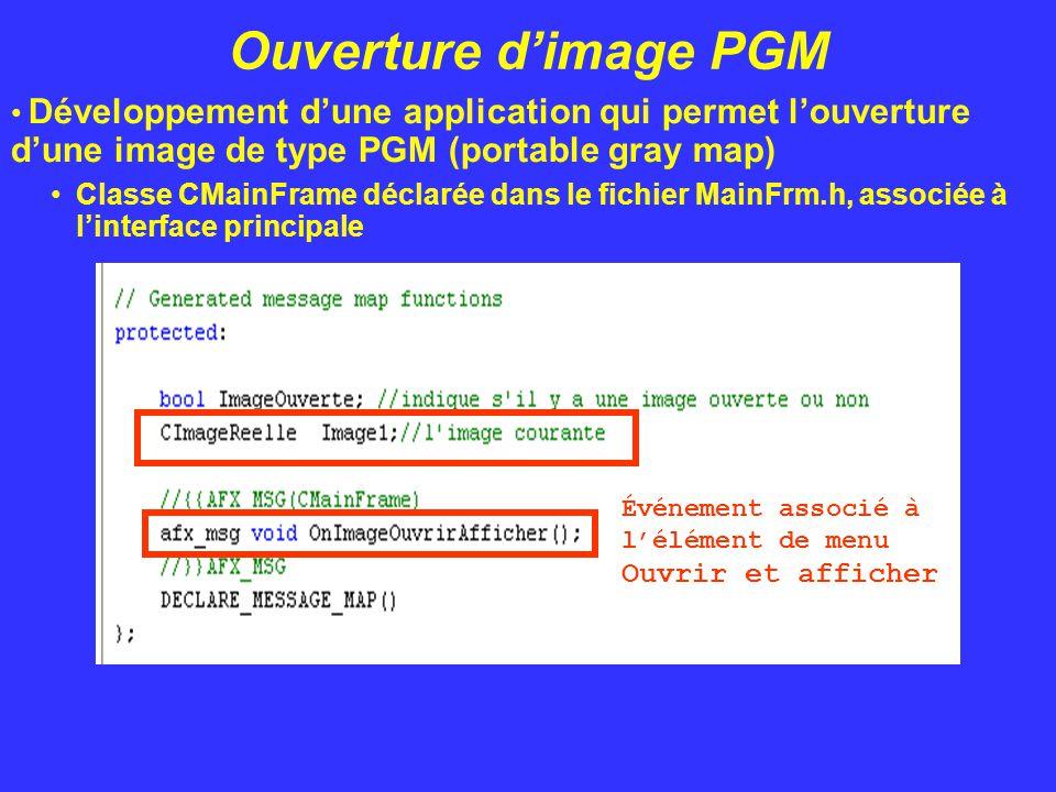 Ouverture d'image PGM Développement d'une application qui permet l'ouverture d'une image de type PGM (portable gray map) Classe CMainFrame déclarée da