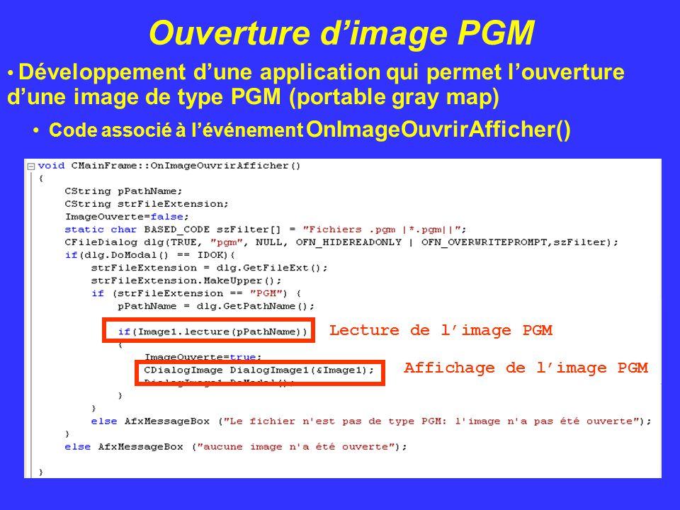 Ouverture d'image PGM Développement d'une application qui permet l'ouverture d'une image de type PGM (portable gray map) Code associé à l'événement On