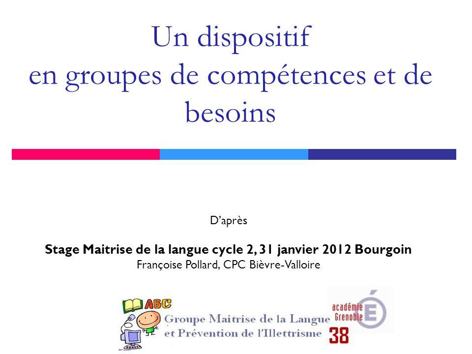 Un dispositif en groupes de compétences et de besoins D'après Stage Maitrise de la langue cycle 2, 31 janvier 2012 Bourgoin Françoise Pollard, CPC Bièvre-Valloire