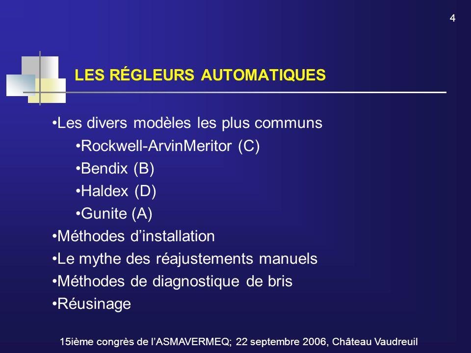 LES RÉGLEURS AUTOMATIQUES 4 15ième congrès de l'ASMAVERMEQ; 22 septembre 2006, Château Vaudreuil Les divers modèles les plus communs Rockwell-ArvinMer