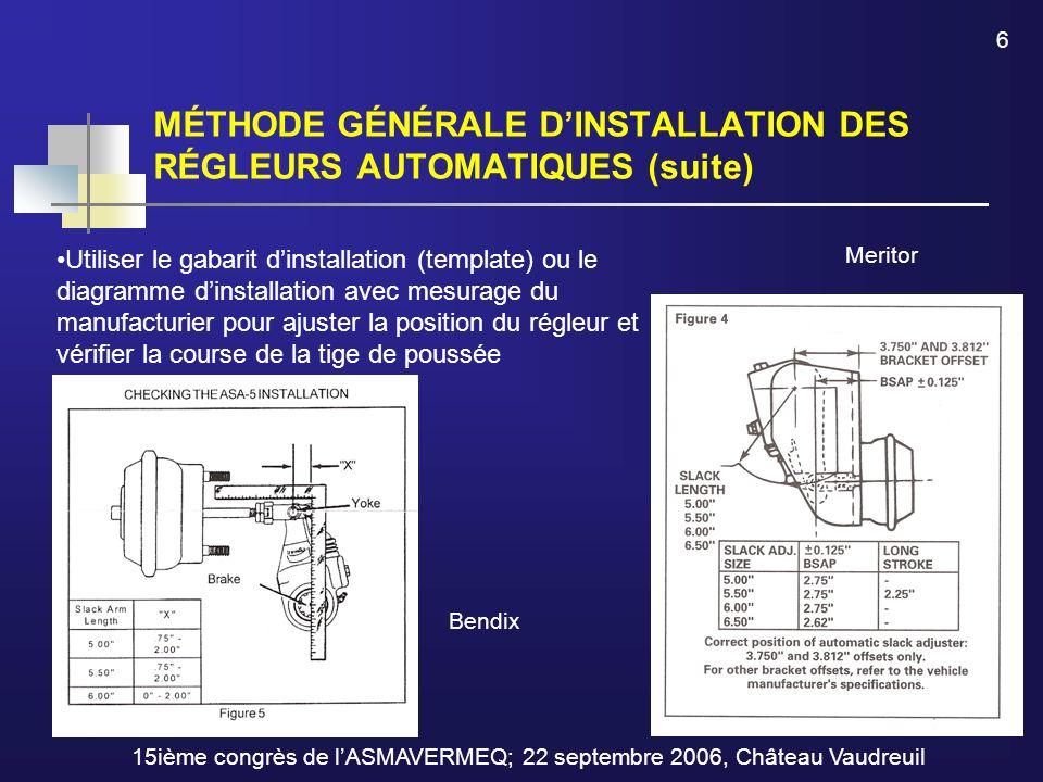MÉTHODE GÉNÉRALE D'INSTALLATION DES RÉGLEURS AUTOMATIQUES (suite) 6 Utiliser le gabarit d'installation (template) ou le diagramme d'installation avec mesurage du manufacturier pour ajuster la position du régleur et vérifier la course de la tige de poussée 15ième congrès de l'ASMAVERMEQ; 22 septembre 2006, Château Vaudreuil Bendix Meritor