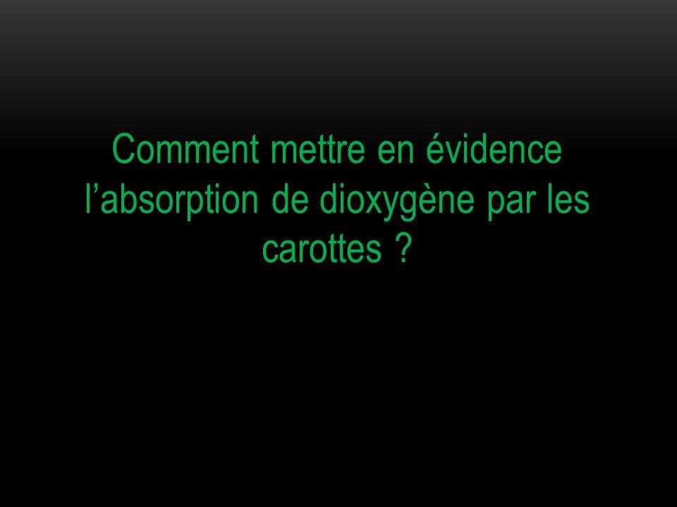 Comment mettre en évidence l'absorption de dioxygène par les carottes ?