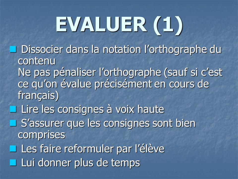 EVALUER (1) Dissocier dans la notation l'orthographe du contenu Ne pas pénaliser l'orthographe (sauf si c'est ce qu'on évalue précisément en cours de français) Dissocier dans la notation l'orthographe du contenu Ne pas pénaliser l'orthographe (sauf si c'est ce qu'on évalue précisément en cours de français) Lire les consignes à voix haute Lire les consignes à voix haute S'assurer que les consignes sont bien comprises S'assurer que les consignes sont bien comprises Les faire reformuler par l'élève Les faire reformuler par l'élève Lui donner plus de temps Lui donner plus de temps