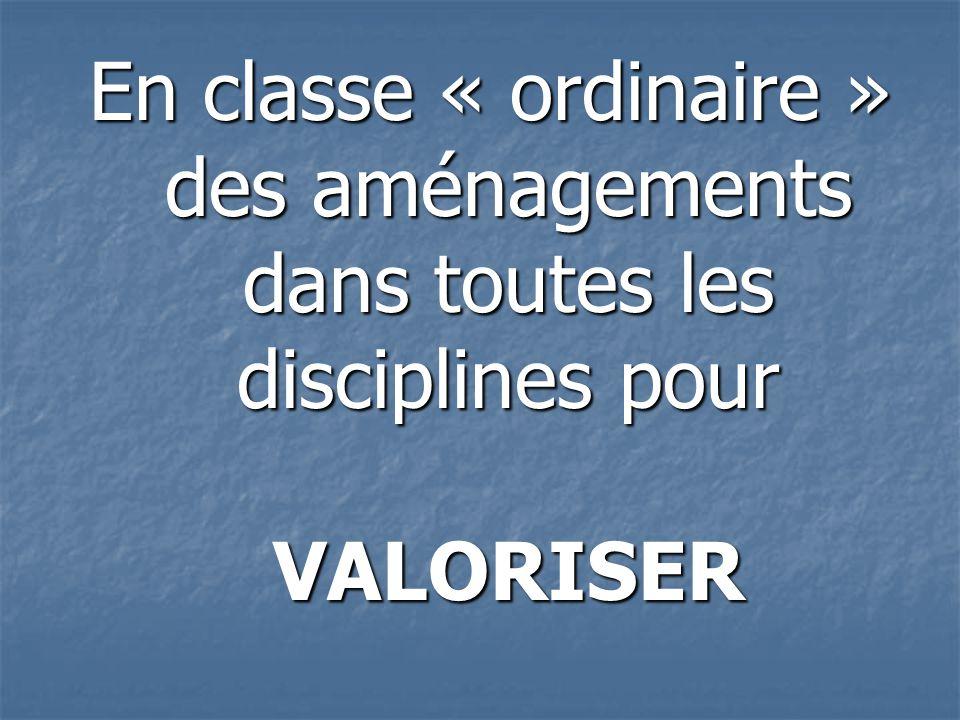 En classe « ordinaire » des aménagements dans toutes les disciplines pour VALORISER