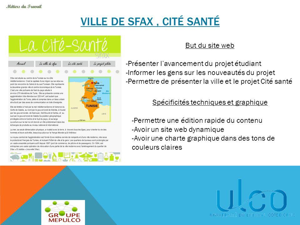 VILLE DE SFAX, CITÉ SANTÉ But du site web -Présenter l'avancement du projet étudiant -Informer les gens sur les nouveautés du projet -Permettre de pré