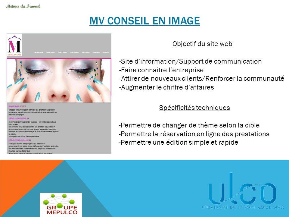 MV CONSEIL EN IMAGE Objectif du site web -Site d'information/Support de communication -Faire connaitre l'entreprise -Attirer de nouveaux clients/Renfo