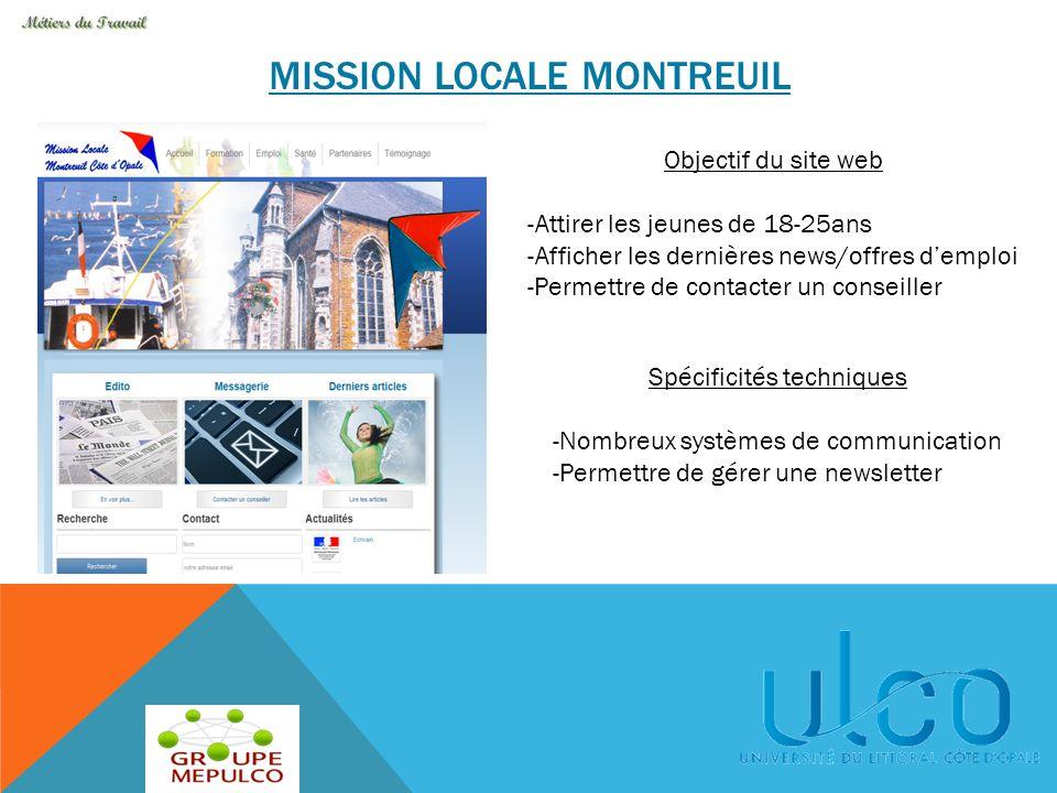 MISSION LOCALE MONTREUIL Objectif du site web -Attirer les jeunes de 18-25ans -Afficher les dernières news/offres d'emploi -Permettre de contacter un