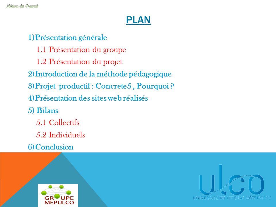 PLAN 1)Présentation générale 1.1 Présentation du groupe 1.2 Présentation du projet 2)Introduction de la méthode pédagogique 3)Projet productif : Concr