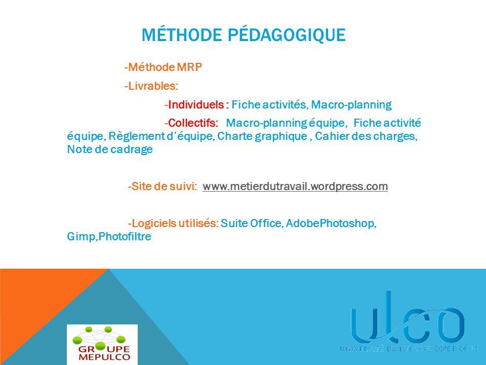 MÉTHODE PÉDAGOGIQUE -Méthode MRP -Livrables: -Individuels : Fiche activités, Macro-planning -Collectifs: Macro-planning équipe, Fiche activité équipe,