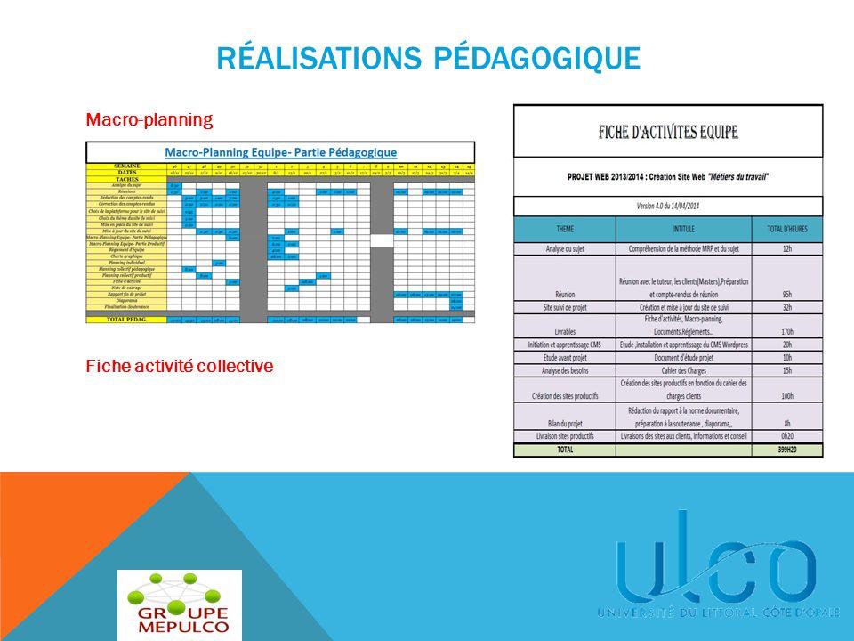 RÉALISATIONS PÉDAGOGIQUE Macro-planning Fiche activité collective