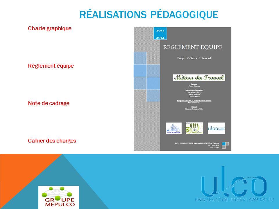 Charte graphique Règlement équipe Note de cadrage Cahier des charges RÉALISATIONS PÉDAGOGIQUE