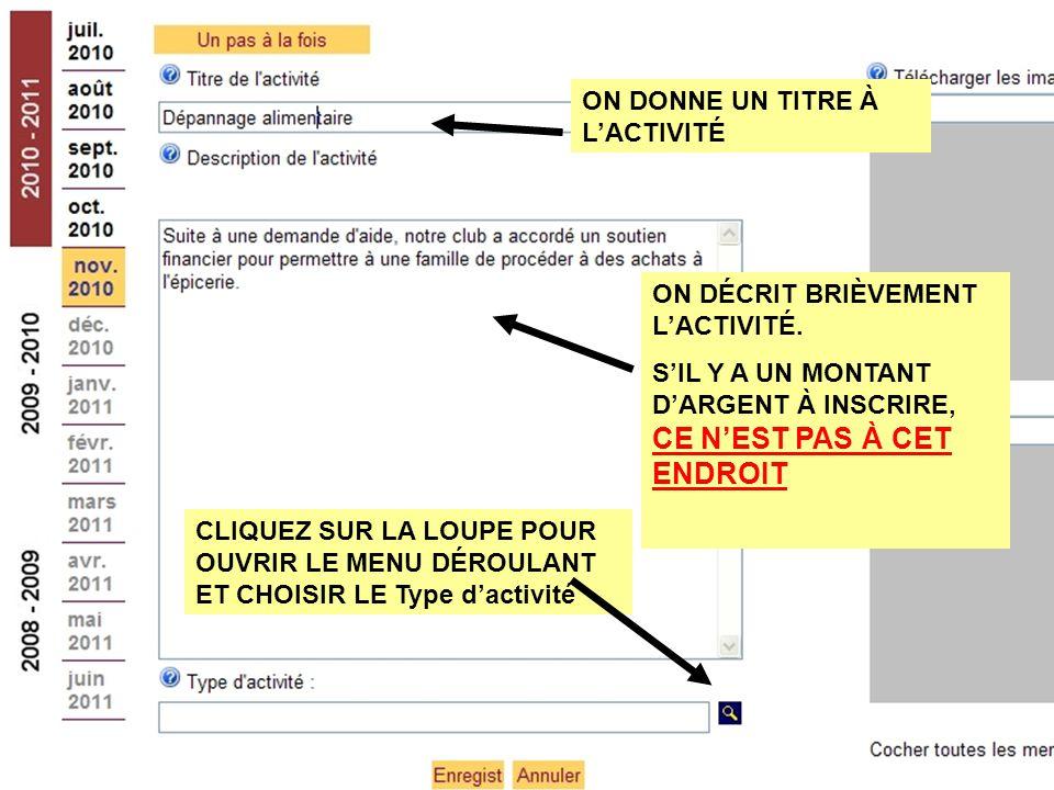 ON DÉCRIT BRIÈVEMENT L'ACTIVITÉ.