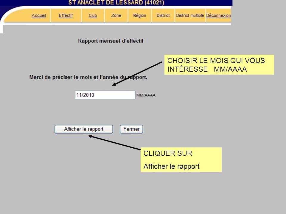 CHOISIR LE MOIS QUI VOUS INTÉRESSE MM/AAAA CLIQUER SUR Afficher le rapport