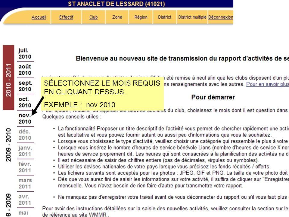 SÉLECTIONNEZ LE MOIS REQUIS EN CLIQUANT DESSUS. EXEMPLE : nov 2010