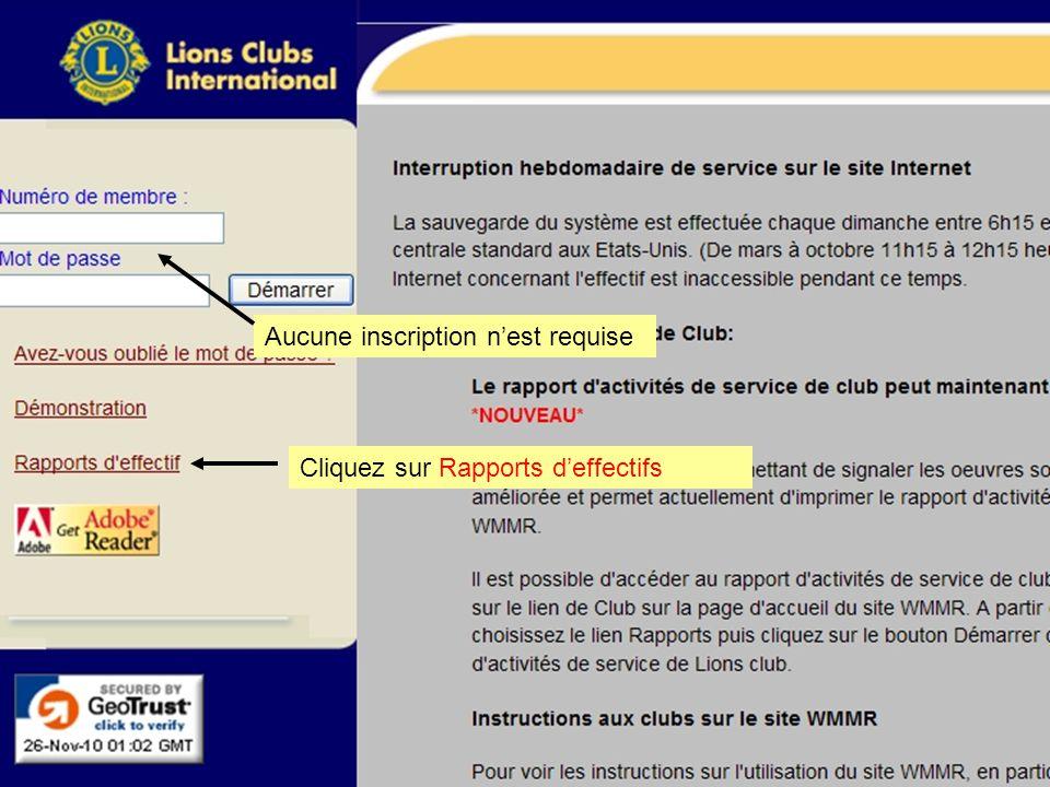 Aucune inscription n'est requise Cliquez sur Rapports d'effectifs