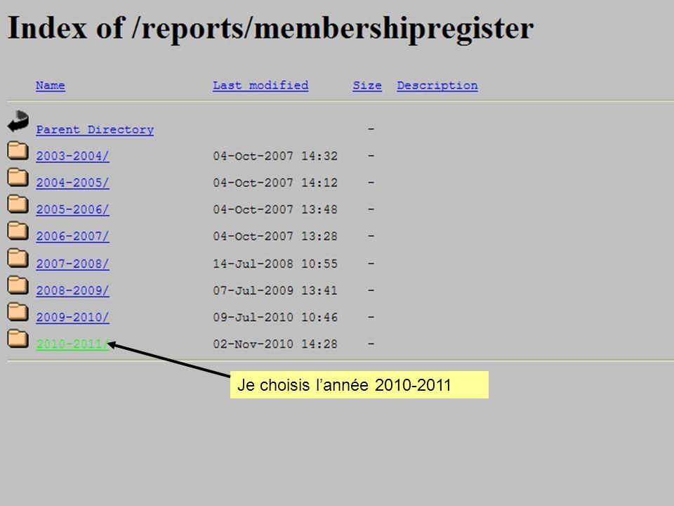 Je choisis l'année 2010-2011