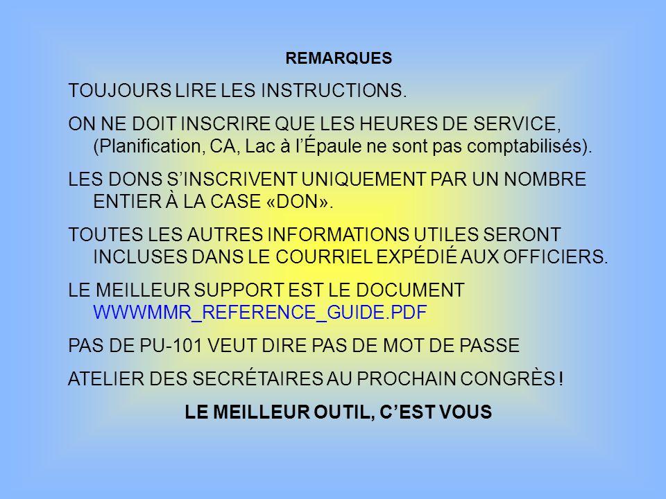 REMARQUES TOUJOURS LIRE LES INSTRUCTIONS.