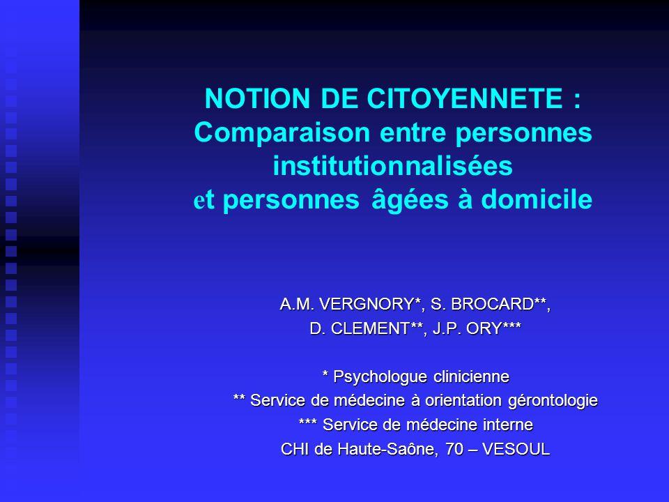 NOTION DE CITOYENNETE : Comparaison entre personnes institutionnalisées e t personnes âgées à domicile A.M. VERGNORY*, S. BROCARD**, D. CLEMENT**, J.P