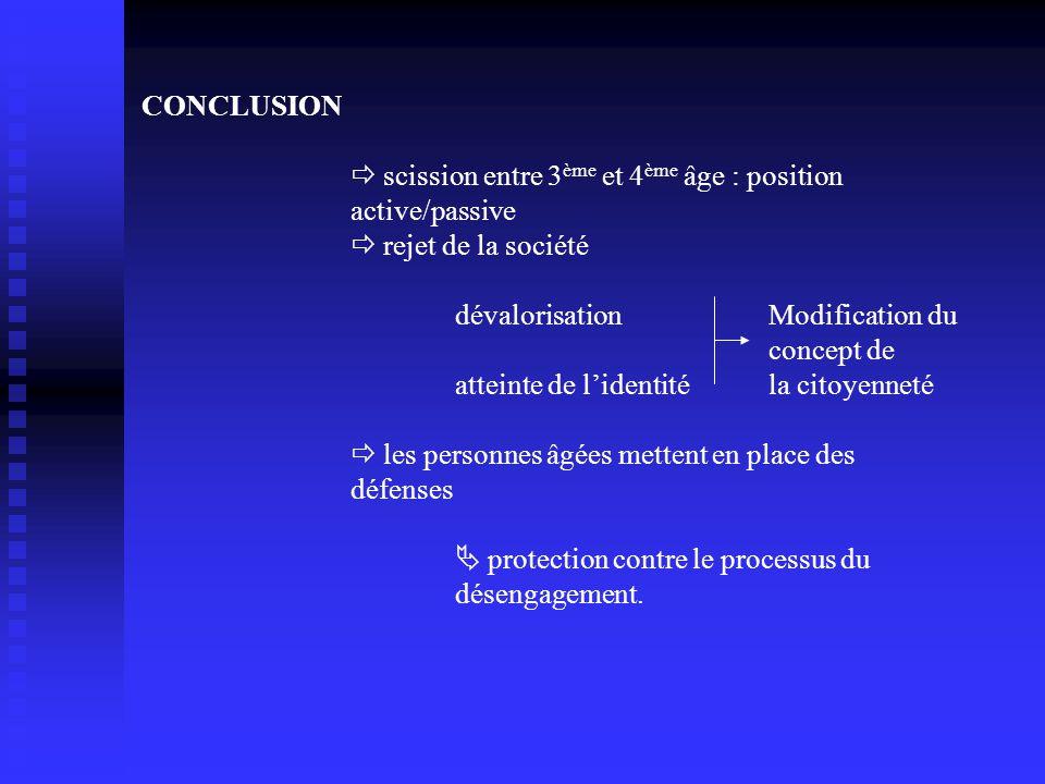 CONCLUSION  scission entre 3 ème et 4 ème âge : position active/passive  rejet de la société dévalorisation Modification du concept de atteinte de l