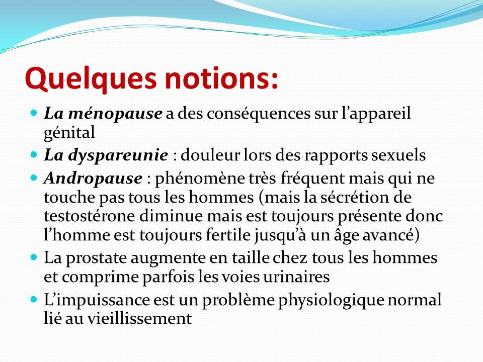 Quelques notions: La ménopause a des conséquences sur l'appareil génital La dyspareunie : douleur lors des rapports sexuels Andropause : phénomène trè