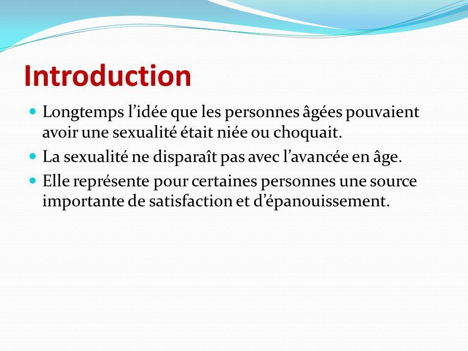 Introduction Longtemps l'idée que les personnes âgées pouvaient avoir une sexualité était niée ou choquait. La sexualité ne disparaît pas avec l'avanc