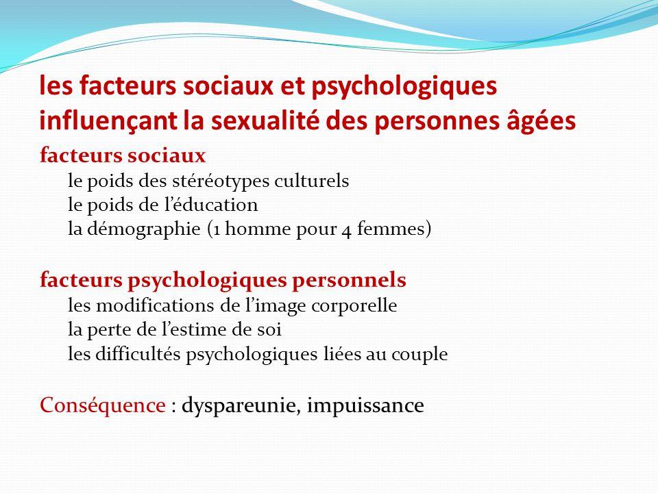 les facteurs sociaux et psychologiques influençant la sexualité des personnes âgées facteurs sociaux le poids des stéréotypes culturels le poids de l'