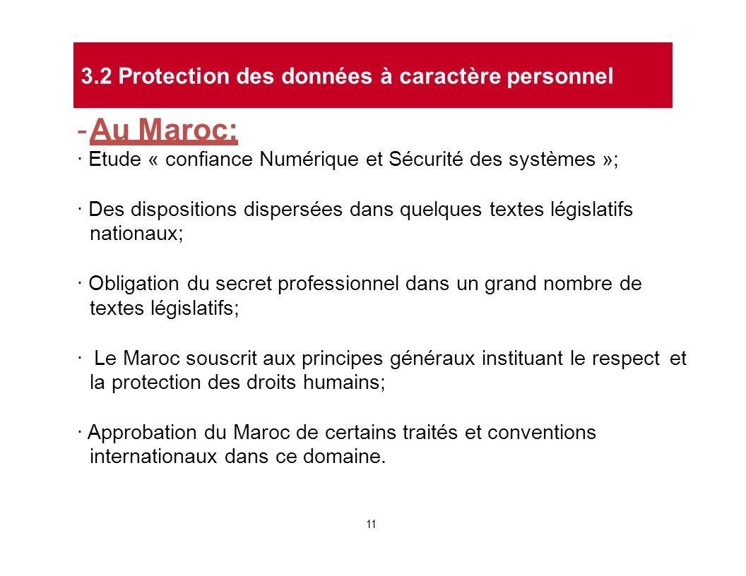 - Au Maroc: · Etude « confiance Numérique et Sécurité des systèmes »; · Des dispositions dispersées dans quelques textes législatifs nationaux; · Obli