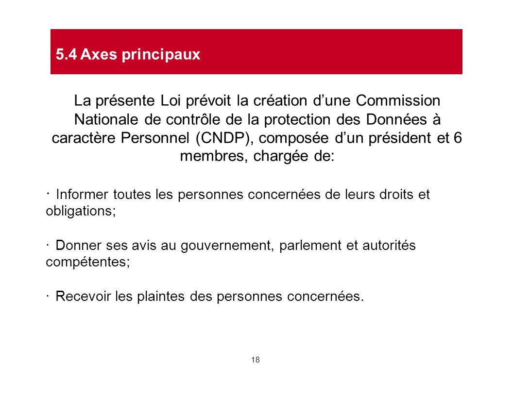 La présente Loi prévoit la création d'une Commission Nationale de contrôle de la protection des Données à caractère Personnel (CNDP), composée d'un pr