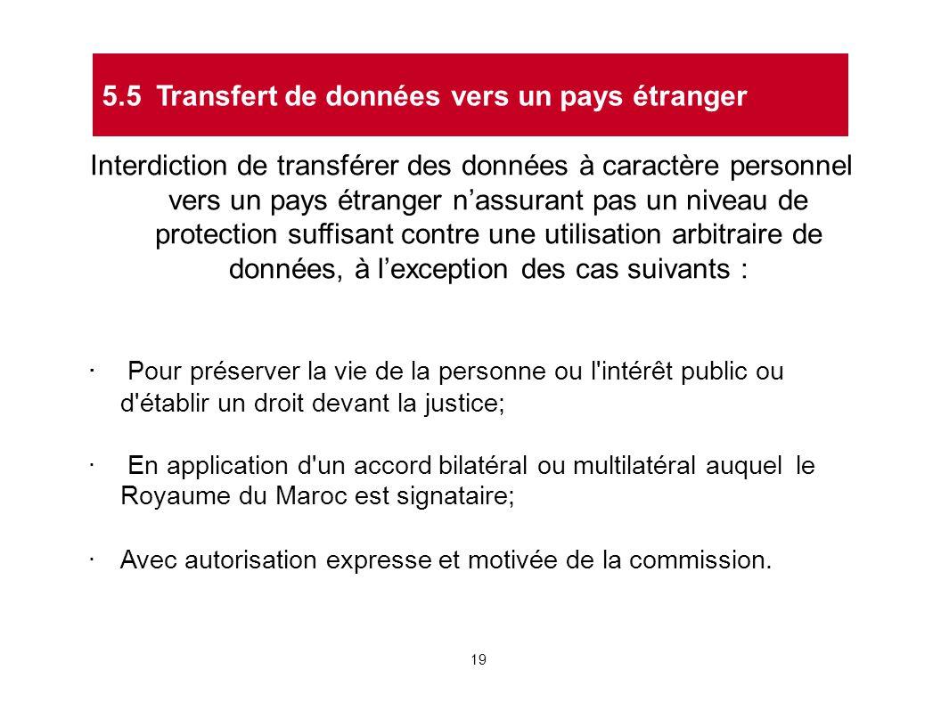 Interdiction de transférer des données à caractère personnel vers un pays étranger n'assurant pas un niveau de protection suffisant contre une utilisa