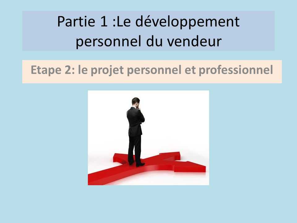 Partie 1 :Le développement personnel du vendeur Etape 2: le projet personnel et professionnel