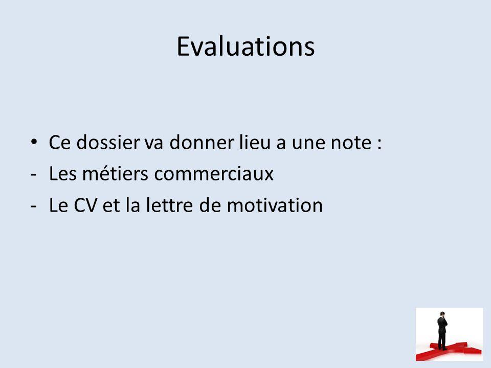 Evaluations Ce dossier va donner lieu a une note : -Les métiers commerciaux -Le CV et la lettre de motivation