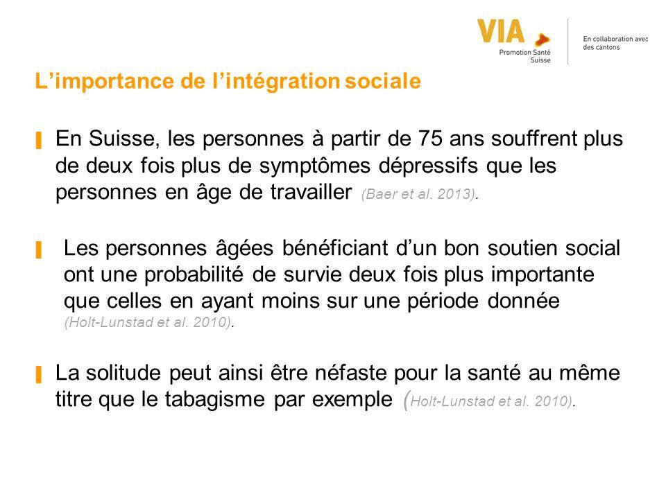 L'importance de l'intégration sociale ▐ En Suisse, les personnes à partir de 75 ans souffrent plus de deux fois plus de symptômes dépressifs que les p