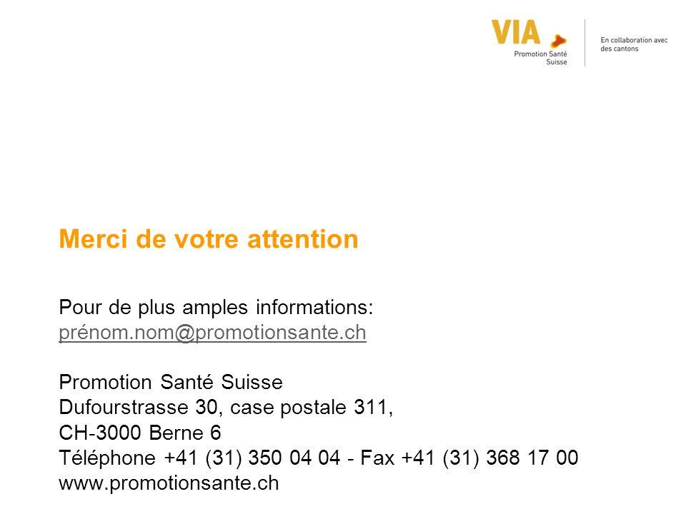 Merci de votre attention Pour de plus amples informations: prénom.nom@promotionsante.ch prénom.nom@promotionsante.ch Promotion Santé Suisse Dufourstra