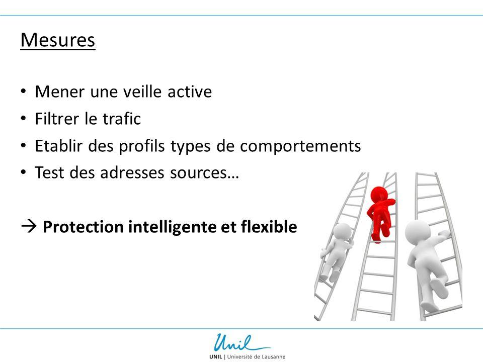 Mesures Mener une veille active Filtrer le trafic Etablir des profils types de comportements Test des adresses sources…  Protection intelligente et f
