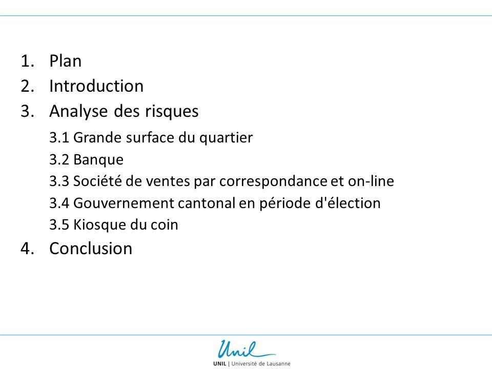 1.Plan 2.Introduction 3.Analyse des risques 3.1 Grande surface du quartier 3.2 Banque 3.3 Société de ventes par correspondance et on-line 3.4 Gouverne